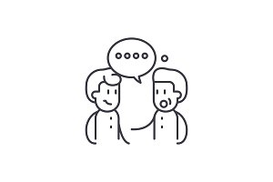 Meeting friends line icon concept
