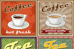 Vintage coffee and tea icon