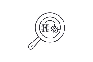 Microbial analysis line icon concept