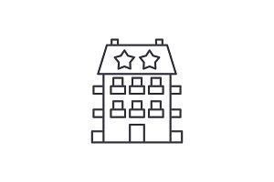 Mini hotel line icon concept. Mini