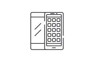 Mobile applications line icon