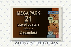 21  travel posters + 2 seamless