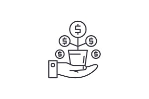 Money tree line icon concept. Money