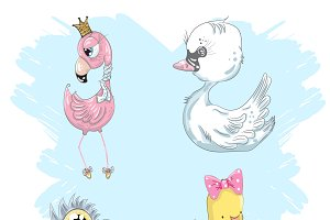 A set of cute little birds.Pink flam