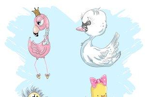 A set of cute little birds.Pink flam