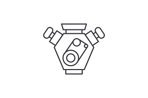 Motor cars line icon concept. Motor