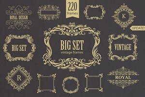 Vintage frames and monogram. Set