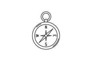 Navigation compass line icon concept