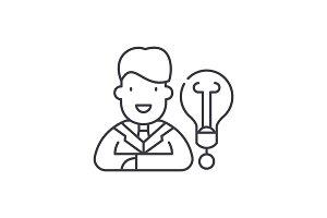New business idea line icon concept