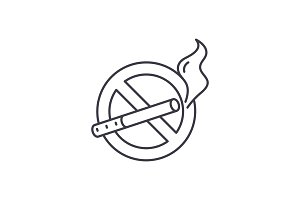 No smoking line icon concept. No