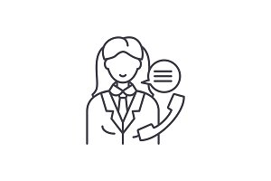 Office manager line icon concept