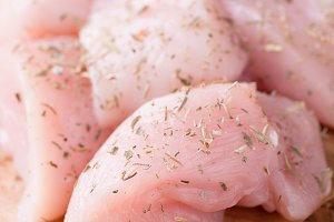 Seasoned raw chicken breast