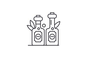 Olive oil line icon concept. Olive