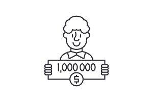 One million dollars line icon