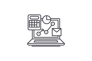 Online control system line icon