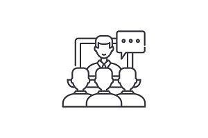 Online lecture line icon concept