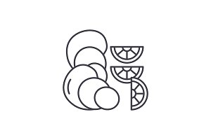 Oysters line icon concept. Oysters