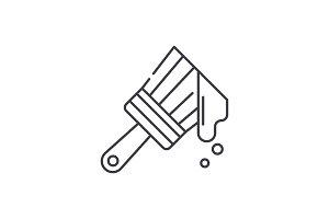 Paint brush line icon concept. Paint