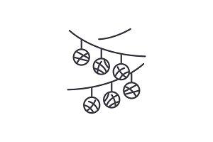 Party decorations line icon concept