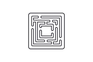 Path in the maze line icon concept