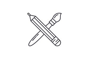 Pencil and paint brush line icon