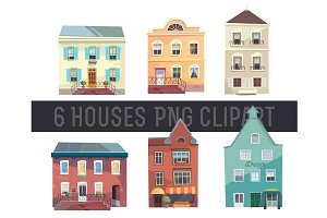 Set of 6 colorful Houses