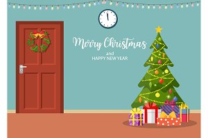 Christmas interior with door and