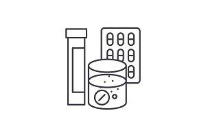 Pharmaceuticals line icon concept