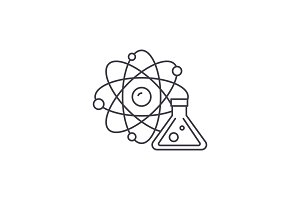 Physics and chemistry line icon
