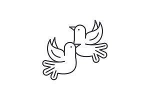 Pigeons line icon concept. Pigeons