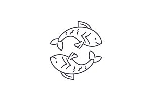 Pisces zodiac sign line icon concept
