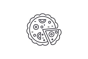 Pizza line icon concept. Pizza