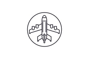 Plane landing line icon concept