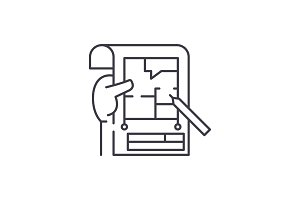 Planning line icon concept. Planning