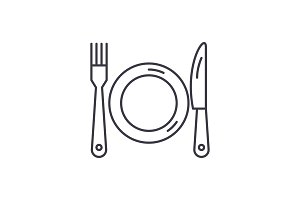 Plate, fork and knife line icon