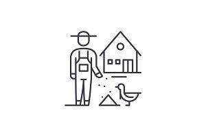 Poultry farming line icon concept