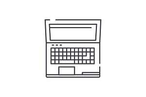 Powerful laptop line icon concept