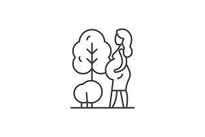 Pregnant woman line icon concept