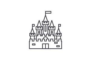 Princess castle line icon concept