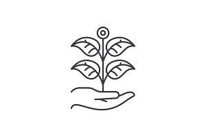 Private garden line icon concept