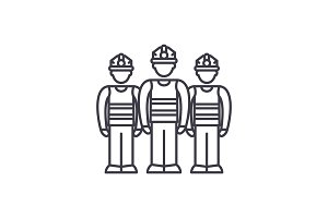 Production team line icon concept