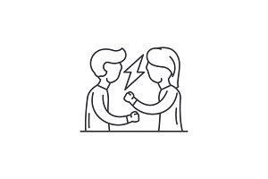 Quarrel line icon concept. Quarrel