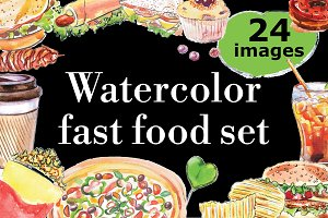 Watercolor fast food