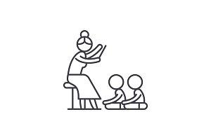 Reading in kindergarten line icon