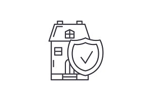 Real estate insurance line icon