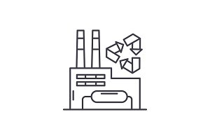 Recycling plant line icon concept