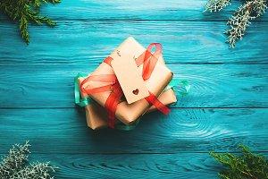 Christmas gift boxes on green