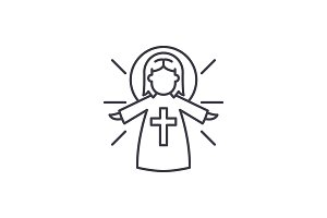 Religious angel line icon concept