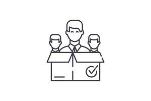 Remote business team line icon