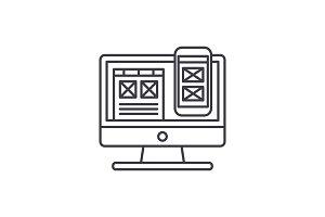Responsive app design line icon